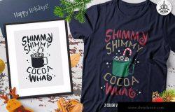 圣诞热可可T恤印花手绘图案设计素材 Christmas Hot Cocoa T-Shirt, Xmas Retro Party Tee