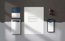 逼真阴影效果企业品牌/办公文具设计样机模板
