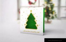 镂空设计圣诞节/新年贺卡样机模板 Christmas New Year Card Mock-Up