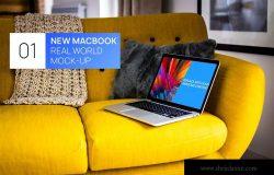 布艺沙发场景MacBook视网膜屏演示样机模板
