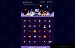 现代扁平设计太空科技主题图标素材 Space – modern flat design style icons set