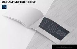 美国信纸规格宣传册内页透视图样机 US Half Letter Brochure Mockup Perspective View