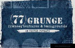 复古工业设计风格纹理/背景/图形素材 Vector Grunge Textures, Backgrounds, Frames Set