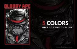 血猿潮牌T恤印花图案设计素材 Bloody Ape