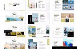 冲浪胜地旅游景点宣传PPT模板下载 Surfingan – Powerpoint Template