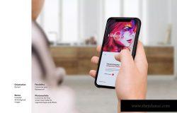 手持iPHone手机屏幕设计效果图样机 iPhone Mockup