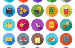 50枚节日庆祝主题长阴影圆形图标素材 50 Celebrations Flat Shadowed Icons