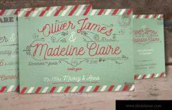 复古航空邮件婚礼请柬设计模板 Vintage Airmail Wedding Invitation