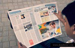 户外阅览新闻广告报纸样机模板 Outdoor Newspaper Mockups