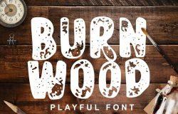 剪纸艺术镂空效果英文花式字体 Burn Wood