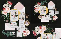 植物花卉场景邀请函套装设计样机模板