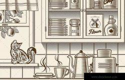 美式复古厨房单色矢量插画素材