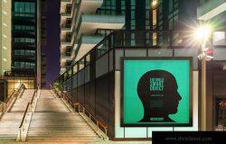 城市夜景海报广告牌设计效果图预览样机#4 Urban Poster-Billboard Mock-Ups – Night