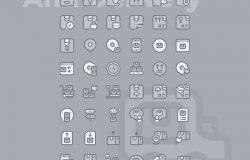 60枚物流配送主题矢量双色调图标 60 Logistic & delivery Icons – Two Tone Style