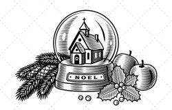 黑白设计风格复古圣诞玻璃球元素插画素材