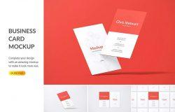 竖版设计风格企业名片效果图样机模板