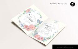 创意手绘花卉水彩婚礼请柬模板