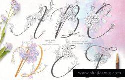 手绘花式单字字母和Logo设计素材收藏 Flowered Monogram & Logo Collection