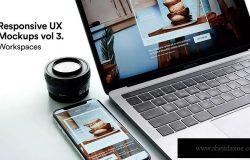 响应式网站设计预览MacBook & iPhone X样机模板v2 Responsive Mockup Macbook Touch Bar iPhone