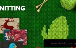 照片一键生成毛线针织画照片特效处理PS动作 Knitting Photoshop Action CS3+