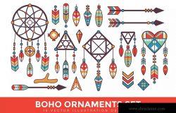 复古波西米亚装饰图案矢量设计素材