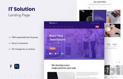 IT解决方案主题网站着陆页UI设计模板