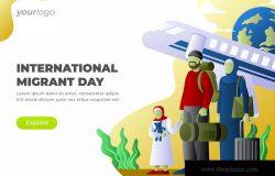 国际移民日主题网站设计矢量插画