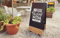 餐厅店铺黑板画广告宣传设计样机模板