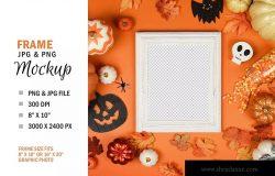 万圣节节日氛围照片相框样机模板素材 Halloween Frame Mockup Photo Display