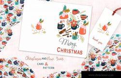 圣诞饮品手绘图案背景素材/贺卡设计模板 Spicy Christmas Greeting Card and Pattern