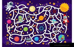 太空迷宫拼图游戏矢量插画素材