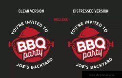 BBQ烧烤店品牌Logo&T恤印花图案设计模板 BBQ Party Logo Design TShirt. Retro Vector SVG