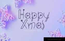 圣诞节字体设计斯堪的纳维亚hygge风格英文涂鸦字体 Happy Xmas Hand Drawn Font
