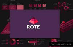 金字塔结构图PPT模板下载 ROTE Powerpoint Template