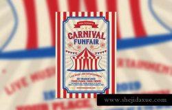 复古嘉年华和游乐场活动海报制作模板 Retro Carnival and Funfair