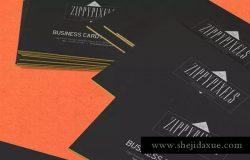 商业品牌/个人名片堆叠视图样机模板 5 Business Card Mockups In Stacked View