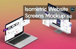 笔记本电脑屏幕网站页面样机模板V.8 Isometric Website Mockup 8.0