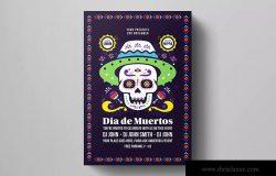 墨西哥亡灵节音乐派对活动海报模板 Dia De Los Muertos Flyer Template