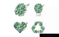 大自然绿色主题概念设计矢量图标素材