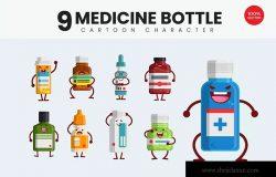 9个药瓶可爱卡通形象矢量插画 9 Cute Medicine Bottle Vector Illustration