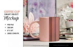 咖啡陶瓷杯定制外观设计PSD样机模板 Pretty Coffee Cup Mug Mockup PSD