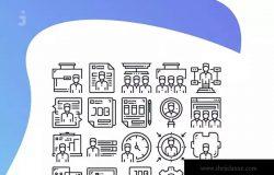 25枚人力资源线条图标素材 25 Human Resources icon set