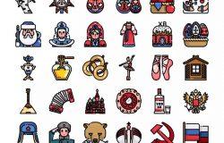 30枚彩色俄罗斯民族元素矢量图标 30 Russia Element Icons