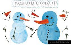 圣诞节水彩雪人设计素材