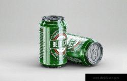 啤酒易拉罐包装外观设计样机 Small Beer Can Mock-Up Template