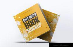 方形软装图书封面设计样机 Soft Cover Square Book Mock-Up