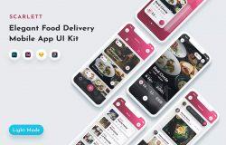 美食主题餐厅外卖服务应用程序UI工具包 Scarlett Food App UI Kit