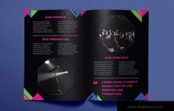 高端酷黑色企业对折页宣传单设计模板 Speaker Brochure Bifold