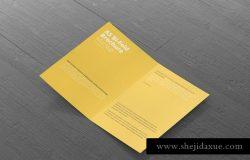 A5双折小册子传单样机模板 A5 Bi-Fold Brochure Mock-Up