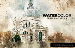 水彩油画质感照片处理效果PS动作 Watercolor Photoshop Action